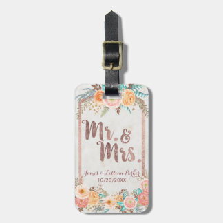 Rose Gold Mr. and Mrs. Floral Monogram Wedding Luggage Tag