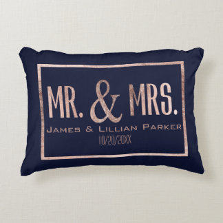 Rose Gold Mr. and Mrs. Navy Blue Monogram Wedding Accent Pillow