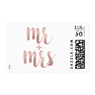 Rose gold Mr. & Mrs. stamps- medium Postage