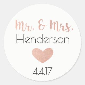 Rose Gold, Mr. & Mrs. Stickers- Wedding Favors Classic Round Sticker