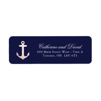Rose Gold Nautical Anchor Return Address Labels