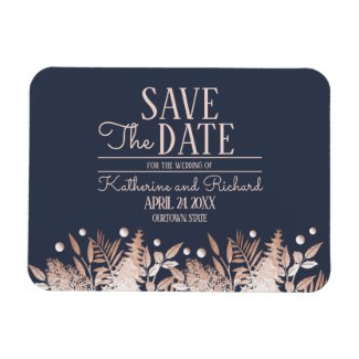 Rose Gold Navy Blue Botanical | Save the Date Magnet