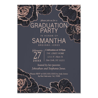 Rose Gold Navy Blue Flowers Graduation Party Card