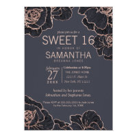 Rose Gold Navy Blue Flowers Sweet 16 Invitations
