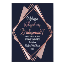Rose Gold Navy Blue Mauve Geometric Bridesmaid Card