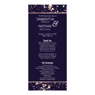 Rose Gold Navy Blue Paint Splatter Wedding Program