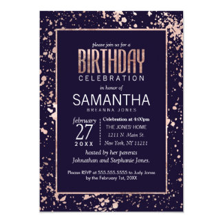 Rose Gold Navy Blue Paint Splatters Birthday Party Card