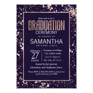 Rose Gold Navy Blue Paint Splatters Graduation Card