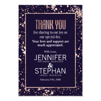 Rose Gold Navy Blue Paint Splatters Thank You Card