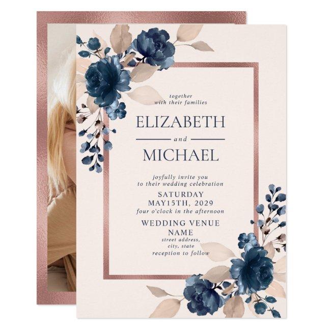 Rose Gold Navy Blue Pink Floral Photo Wedding Invitation