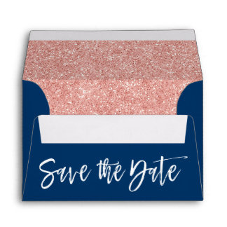 Rose Gold & Navy Blue Save the Date Envelope