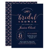 Rose Gold & Navy | Elegant Wedding Bridal Shower Invitation