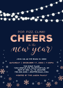 rose gold new years eve company holiday party invitation