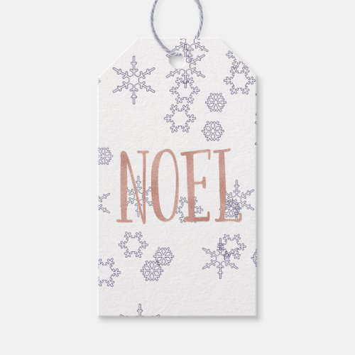 Rose Gold Noel with Blue Snowflakes Christmas Gift Tags
