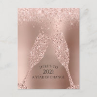 Rose Gold Numerology Prediction Toast to 2021 Holiday Postcard