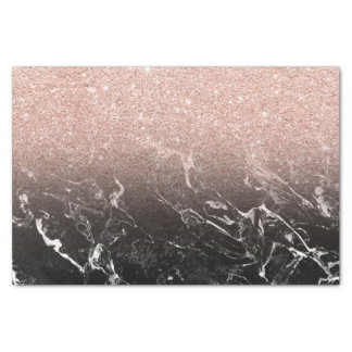 """Rose gold ombre black marble modern color block 10"""" x 15"""" tissue paper"""