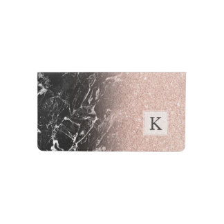 Rose gold ombre black marble modern color block checkbook cover