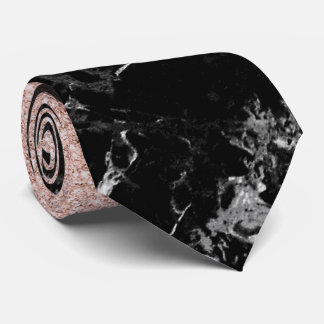 Rose gold ombre black marble modern color block tie