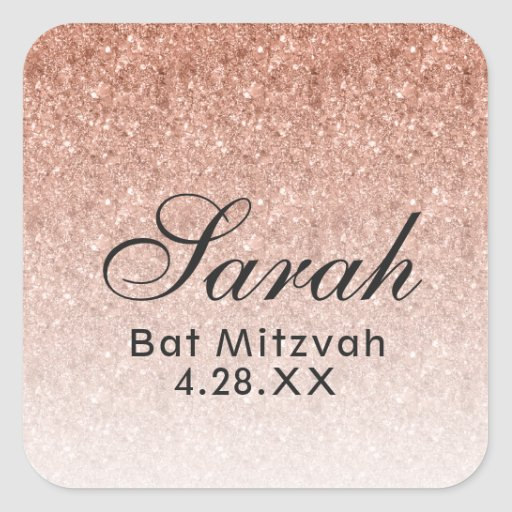 Rose Gold Ombre Glitter Favor Tag