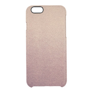 Rose Gold Ombre Glitter Sand Look Pink Clear iPhone 6/6S Case