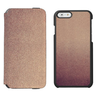 Rose Gold Ombre Glitter Sand Look Pink iPhone 6/6s Wallet Case