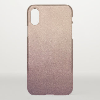 Rose Gold Ombre Glitter Sand Look Pink iPhone X Case