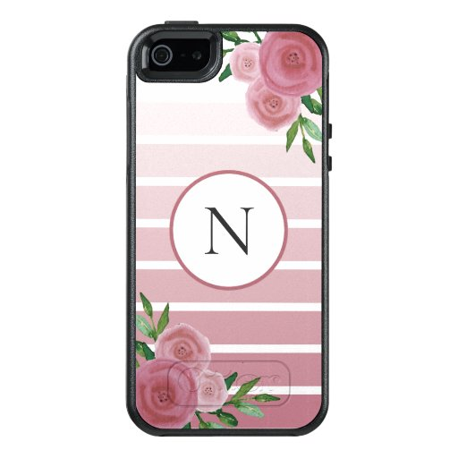 Rose Gold Ombre Stripes Watercolor Floral Monogram OtterBox iPhone 5/5s/SE Case