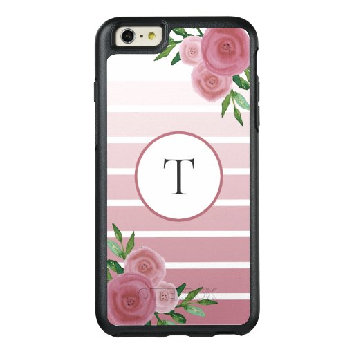 Rose Gold Ombre Stripes Watercolor Floral Monogram OtterBox iPhone 6/6s Plus Case