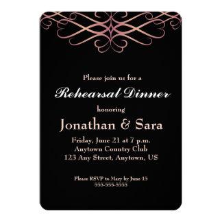 Rose Gold on Black, Elegant Rehearsal Dinner Card