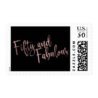 Rose Gold on Black Fifty and Fabulous Typography Postage