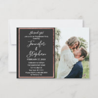 Rose Gold Outline Border Simple Black Engagement Announcement