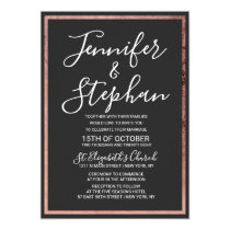 Rose Gold Outline Border Simple Black Wedding Invitation