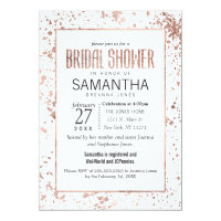 Rose Gold Paint Splatter Bridal Shower Invitations