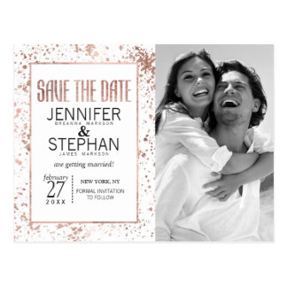 Rose Gold Paint Splatters Save the Date Postcards