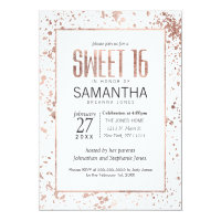 Rose Gold Paint Splatters Sweet 16 Invitations