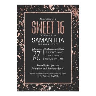 Rose Gold Paint Splatters Sweet 16 Invitations