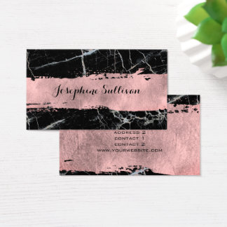 rose gold paint stroke on black and white marble business card