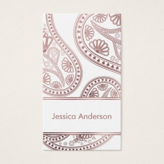 Rose Gold Paisley Trio Patterned Business Cards on Editable White