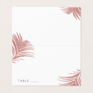 Rose Gold Palm Tree Beach Wedding Place Escort Business Card