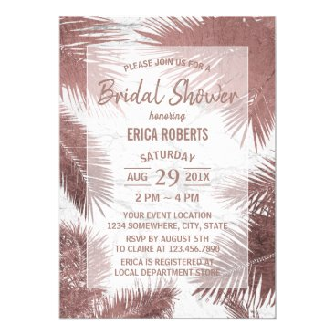 Beach Themed Rose Gold Palm Tree Marble Tropical Bridal Shower Card