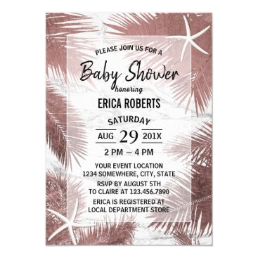 Beach Themed Rose Gold Palm Tree Starfish Tropical Baby Shower Card