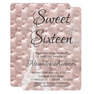 Rose Gold Paris Sweet Sixteen Birthday Party Card