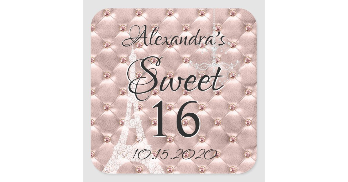 Rose Gold Paris Sweet Sixteen Birthday Party Square