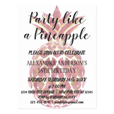 Beach Themed Rose Gold Party Like a Pineapple Birthday Postcard