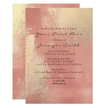 Beach Themed Rose Gold Peach Blush Ombre Glass Metallic Beach Card
