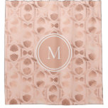 Rose Gold Personalized Monogram Shower Curtain