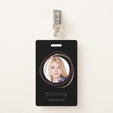Professional Business Rose Gold Photo & Name Badge
