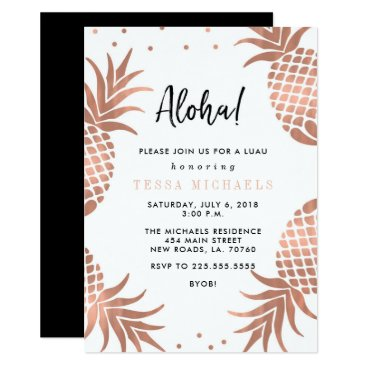 Beach Themed Rose Gold Pineapple Luau Party Invitations