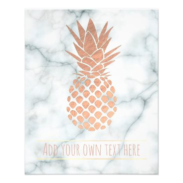 Beach Themed rose gold pineapple on marble flyer