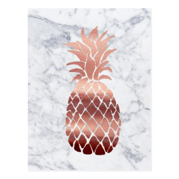 Beach Themed rose gold pineapple on marble postcard